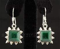 EMERALD BERYL 2633CTW MINI SILVER HOOK EARRING