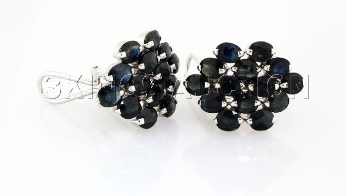 Cluster Sapphire 38.34CTW Sterling Silver Earring