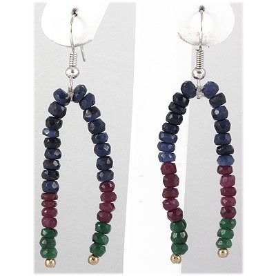 31.39ct 2 Row Natural Multi-Color Silver Hook Earring