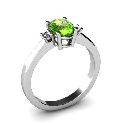 Peridot 0,95 ctw Diamond Ring 14kt White Gold