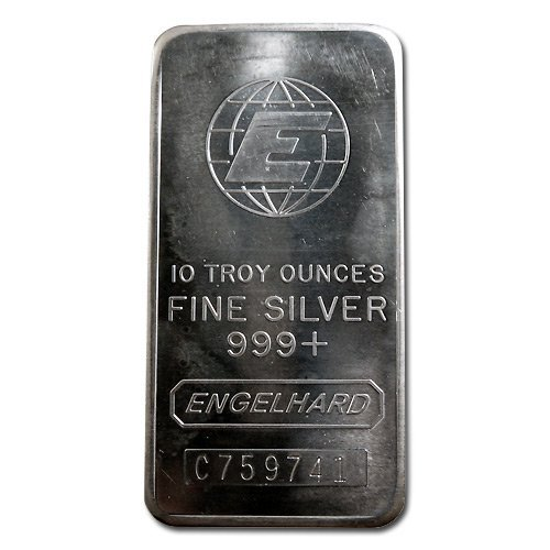 Silver Bars: Engelhard 10 oz Bar (Tall, E Globe) .999 f