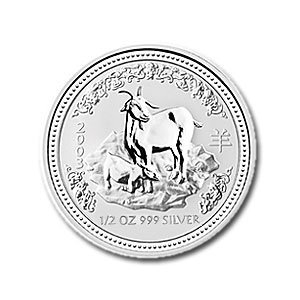 Australian Lunar Silver 1/2 oz Silver 2003 Goat