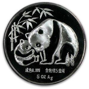 1987 5 oz Silver Panda Proof - Long