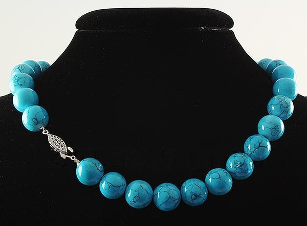479.53CTW 17in. BLUE TURQUOISE NECKLACE W/ METAL LOCK