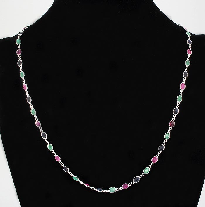 New Design Multi-color 17.10CT Bezel Silver Necklace 7.