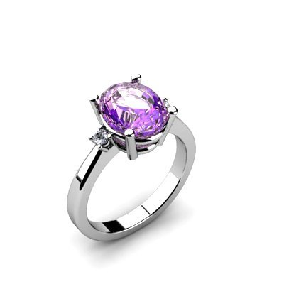 Amethyst 2.40 ctw Diamond Ring 14kt White Gold