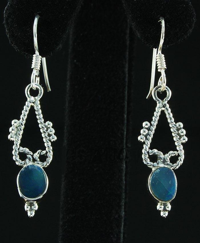 Opal Doublet 12.36ctw Cute Design .925 Hook Earring