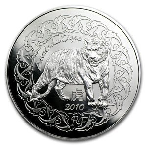 2010 5 Euro Silver France Year of the Tiger Coin
