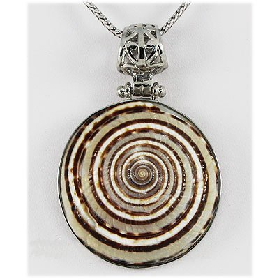 Natural 73.75ctw Mother of Pearl Sea Shell Silver Penda