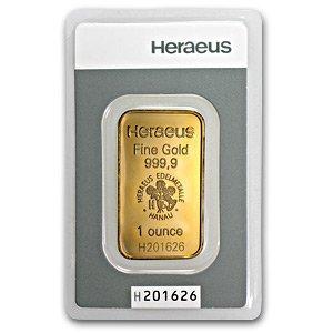 1 oz Heraeus Gold Bar New .9999 Fine