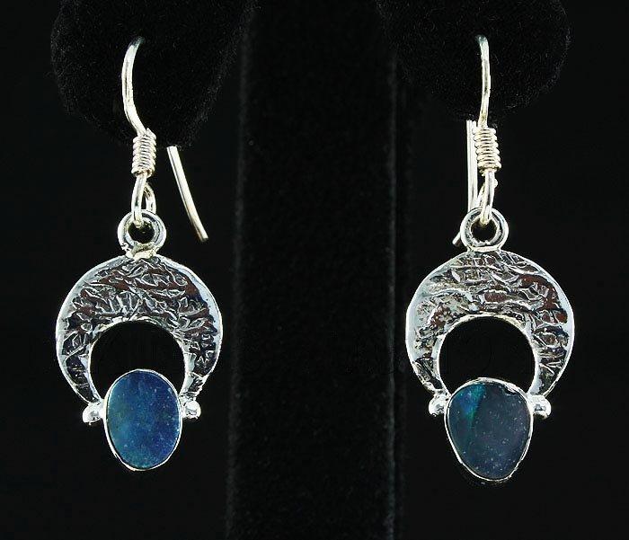 Opal Doublet 13.41ctw Crescent Design .925 Hook Earring