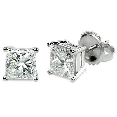 0.66 ctw Princess cut Diamond Stud Earrings G-H, VVS
