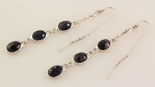 Sterling Silver Drop Dangle 16.21ctw Sapphire Earring