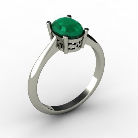 Emerald 1.26 ctw Ring 14kt White Gold