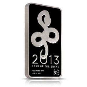 Silver Bars: 2013 Silver Snake 10 oz Bar .999 fine