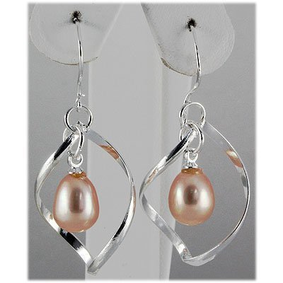 Natural 3.92g Pearl Spiral Dangling Silver Earring