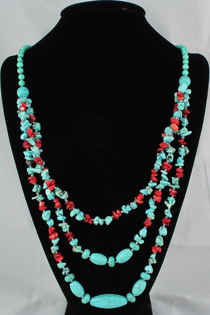 476.50CTW CHUNKY TURQUOISE W/ RED CORAL NECKLACE