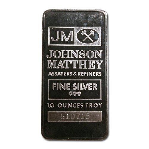 Silver Bars: Johnson Matthey 10 oz Bar (Pressed, JM Log