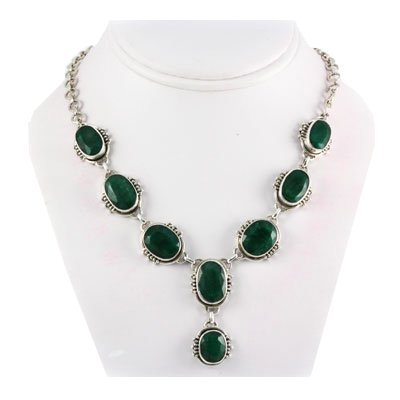 256ctw Fashion Emerald Silver Necklace
