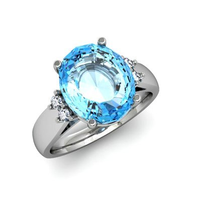 Aqua Marine 4.50 ctw & Diamond Ring 14kt White Gold