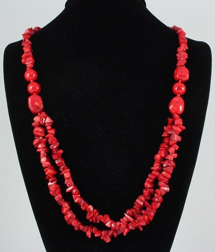 496.70CTW CHUNKY RED CORALS BEADED FASHION NECKLACE