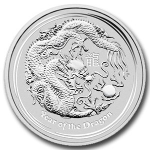 2012 5 oz Silver Australian Lunar Year of the Dragon Co
