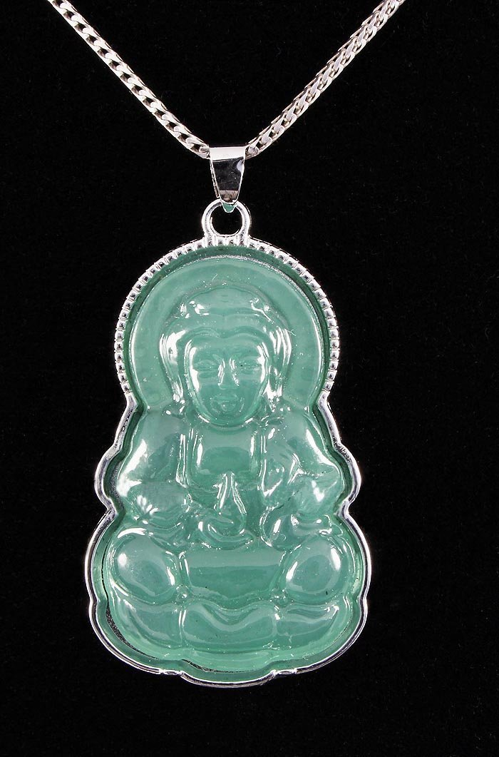 NATURAL 41.57CTW JADE BUDDHA SILVER PLATED PENDANT
