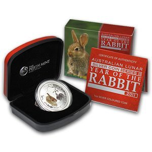 2011 1 oz Silver Year of the Rabbit (SII) Colorized w/