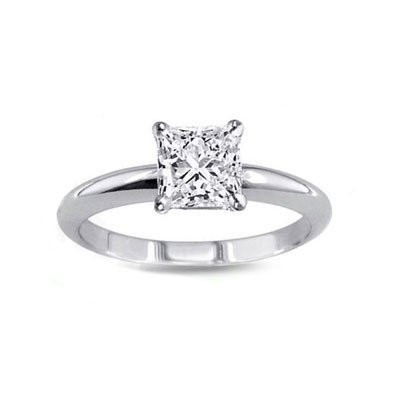 0.85 ct Princess cut Diamond Solitaire Ring, G-H, SI2