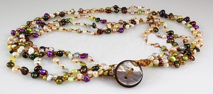 183.00CTW Multi Color Thread Freshwater Pearl Necklace