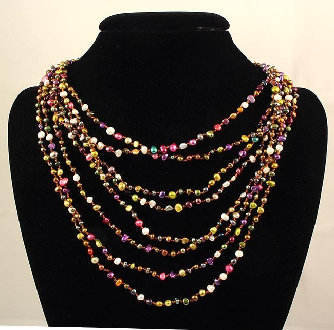 360.16CTW MULTI-COLOR FRESHWATER PEARL NECKLACE