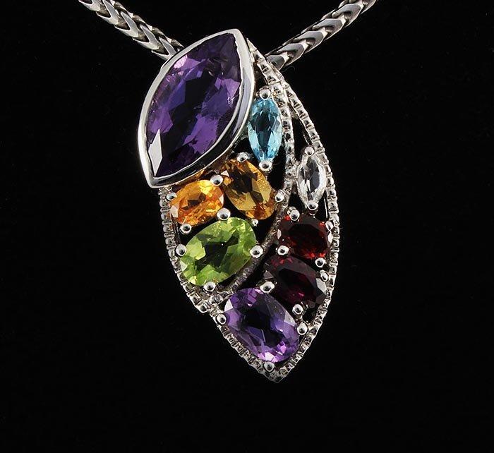Multi-color Precious Stones 3.99ctw Silver Pendant 2.94