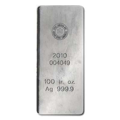 Silver Bars: Royal Canadian Mint 100 oz .999 fine