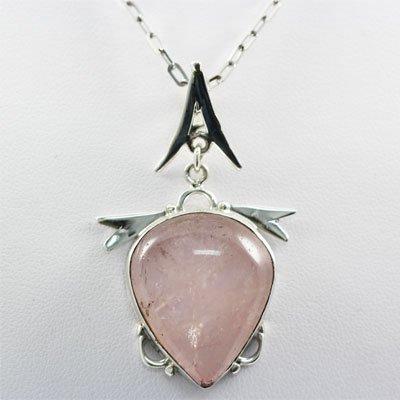 Rose Quartz Pear Shape Sterling Silver Pendant