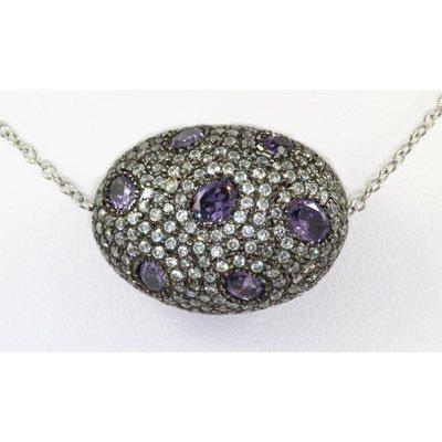 56.ctw Bizarre Egg Shape Silver Necklace