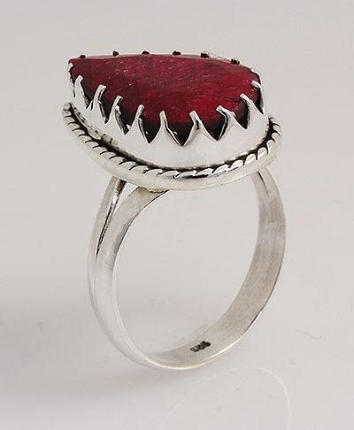 RUBY CORRUNDUM 27.31CTW UNIQUE DESIGN .925 RING