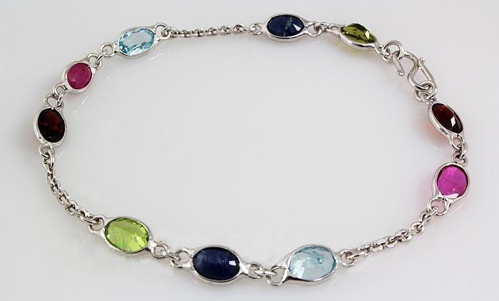10.12CT Multi Precious Gemstone Silver Bezel Bracelet 2