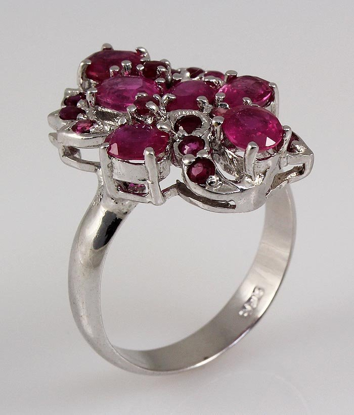 3.27ctw Ruby Sturdy Cluster Princess Silver Ring 4.24g