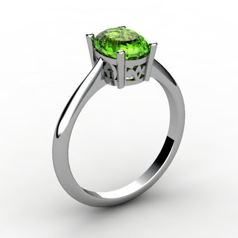 Peridot 0.95 ctw Ring 14kt White Gold