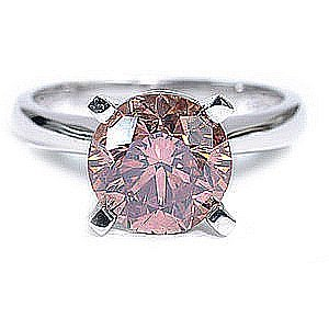 2.0 carat Solitaire Round Pink Diamond Ring 8.2mm RS 6.