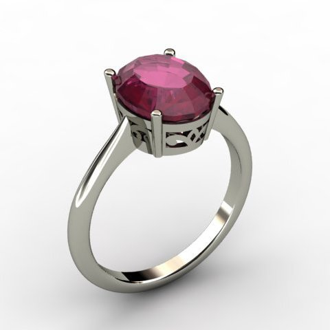 Ruby 3.15 ctw Ring 14kt White Gold