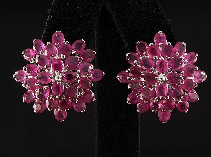 Flower Cluster 8.64g Sterling Silver Ruby Earring 8.96c