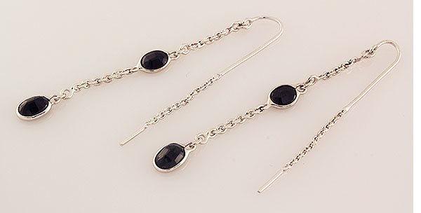 Sterling Silver Drop Dangle 12.17ctw Sapphire Earring