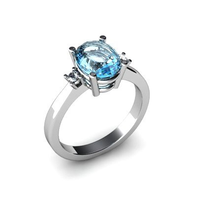 Aqua Marine 1.75 ctw Diamond Ring 14kt White Gold