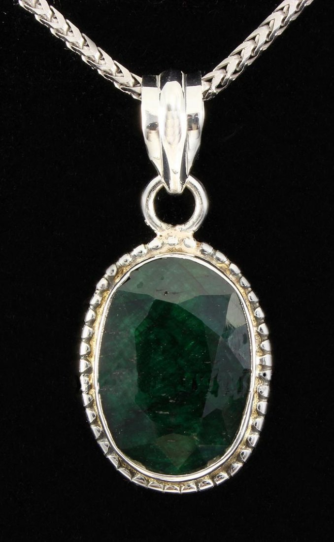 EMERALD BERYL 24.58CTW STERLING SILVER PENDANT
