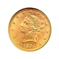 Early Gold Bullion $10 Liberty Almost Uncirculated