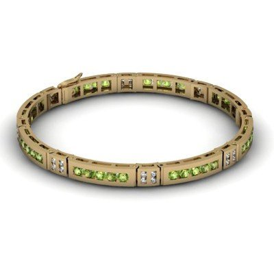 Peridot 2.96 ctw & Diamond Bracelet 14kt W OR Y Gold