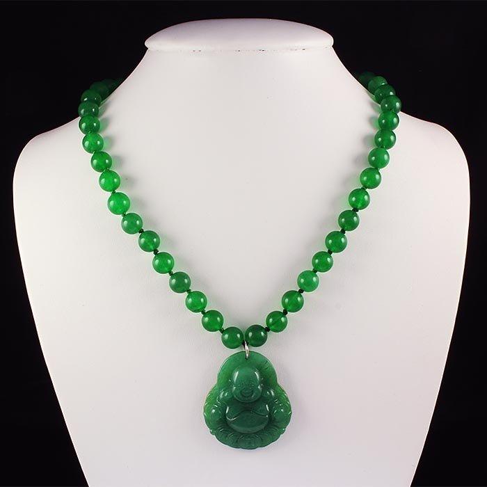 469.94 Carat Chinese Green Jade Balls Necklace Budha wi