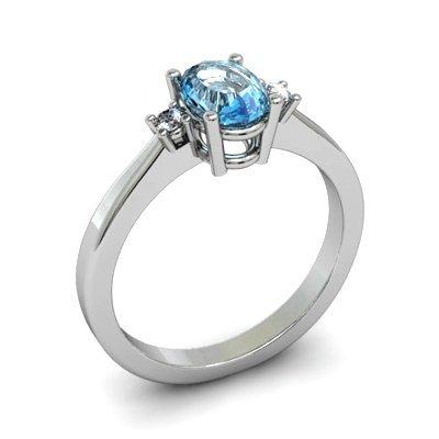 Aqua Marine 0.75 ctw Diamond Ring 14kt White Gold