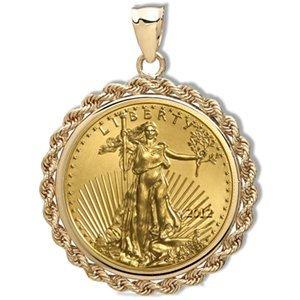 2012 1/4 oz Gold Eagle Pendant (Rope-Prong Bezel) 14KT